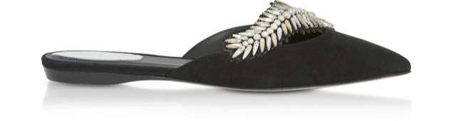 Rene Caovilla / レネカオヴィラ 35 IT | 36 FR Black Suede and Crystals Pointy Mules - FORZIERI