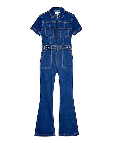 Topshop Stretch Denim Flared Boiler Suit With Buckle - オールインワン&ワンピース / レディース | YOOX(ユークス) - 54172995PW