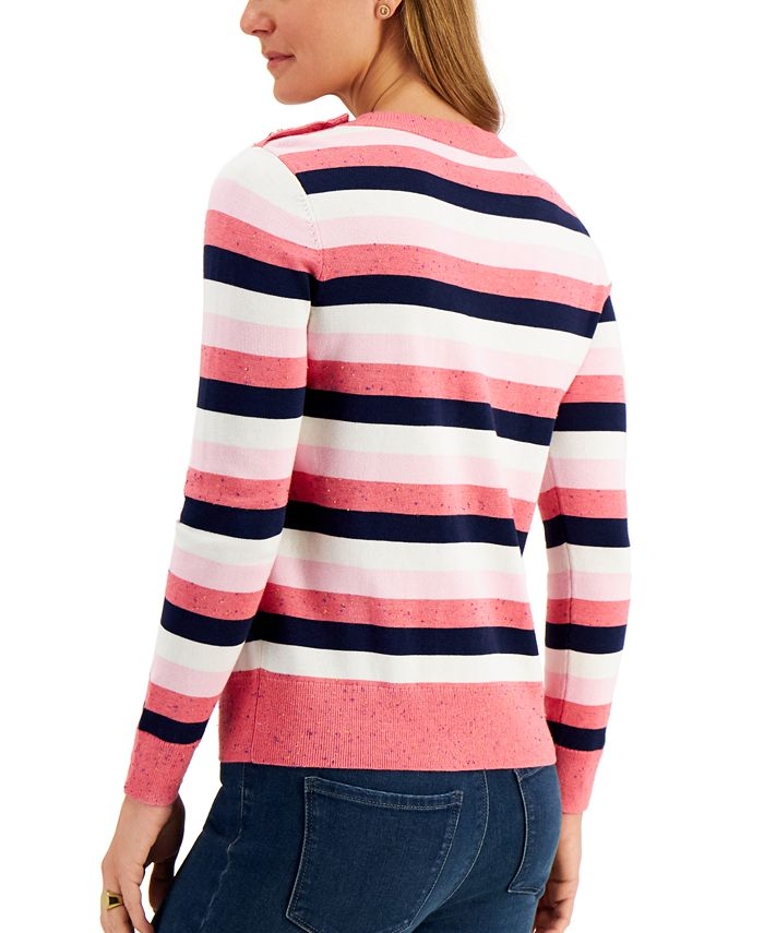 Charter Club Striped Button-Detail Sweater, Created for Macy's & Reviews - Sweaters - Women - Macy's
