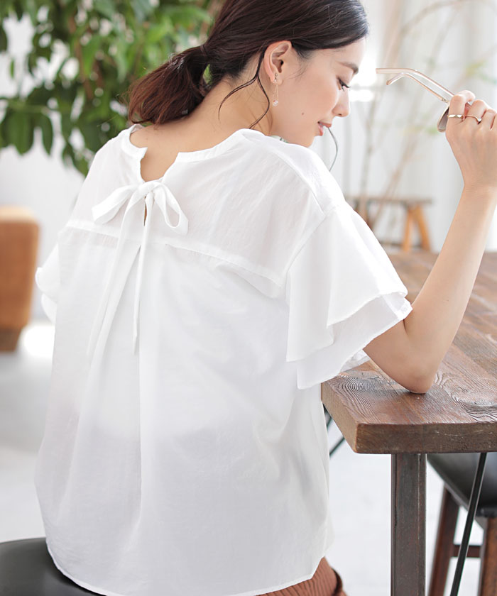 【セール】★BACK RIBBON FRILL BLOUSE(502269895) | アズールバイマウジー(AZUL by moussy) - MAGASEEK
