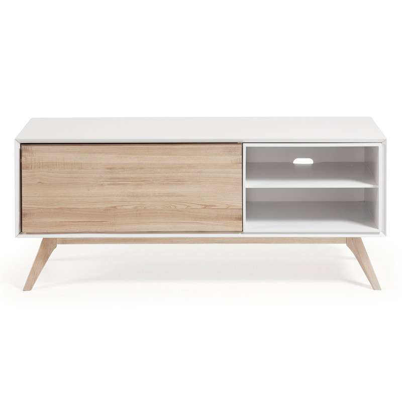 QUATRE Tv cabinet 134x56 ash wood, matt white MDF | 商品カテゴリー,収納家具,テレビボード | LaForma Japan